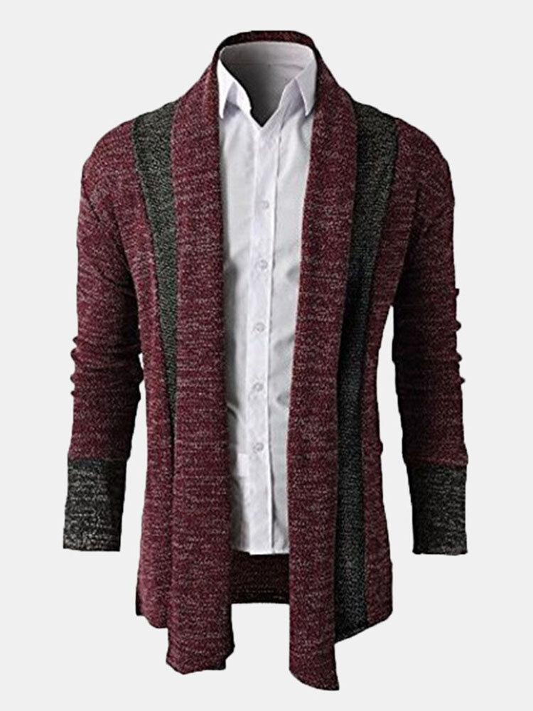 Осень-Зима Мужская мода Вязание Кардиганы Теплый отложным воротником вскользь Outwear