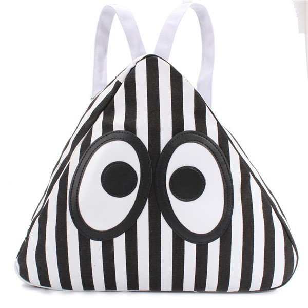 Women Canvas Cute Eyes Triangle Backpack