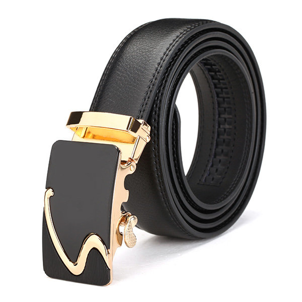 Second Floor Cowhide Male Gold Alloy Adjustable Automatic Buckle Belt