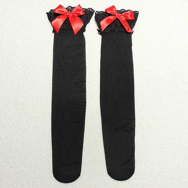 Sexy Women Silk Lace Top Bow Bowknot Thigh High Stockings