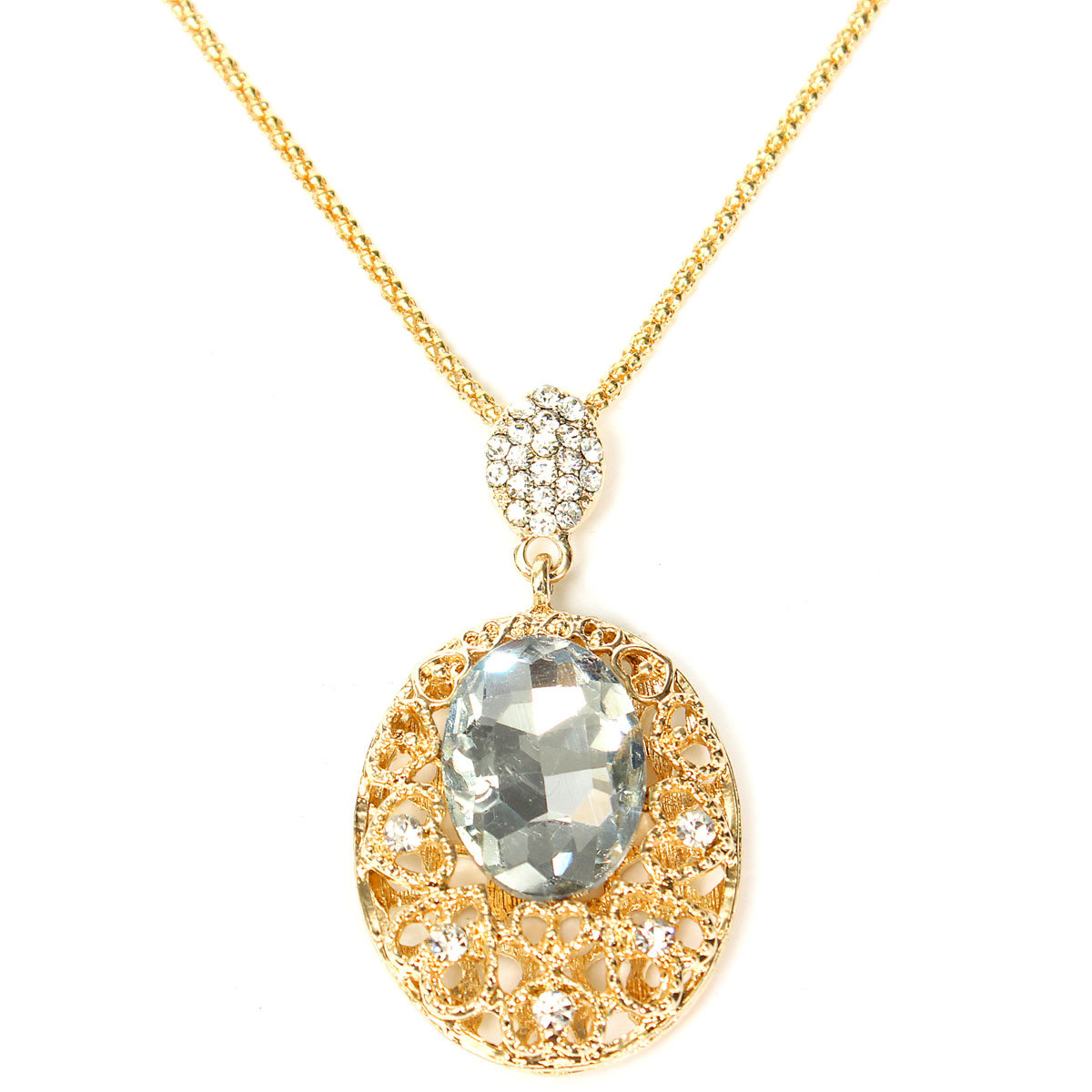 Crystal Hollow Out Big Oval Pendant Necklace