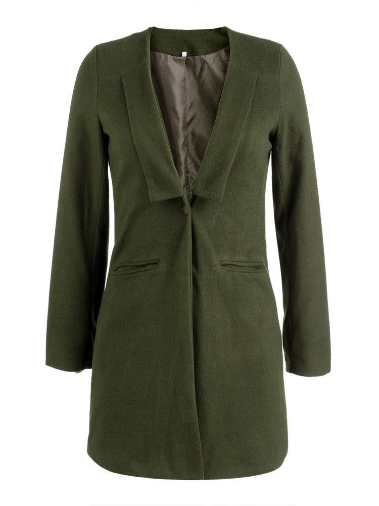 Brief   Army Green Lapel Wool Women Coats