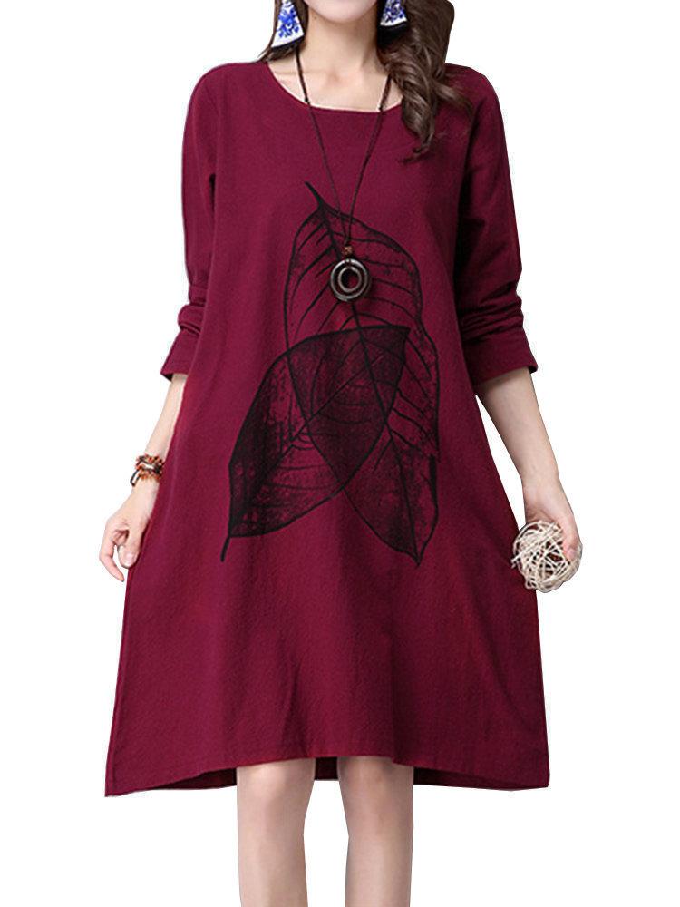 Casual Women Leaf Printing Pocket Cotton Linen A-line Dress