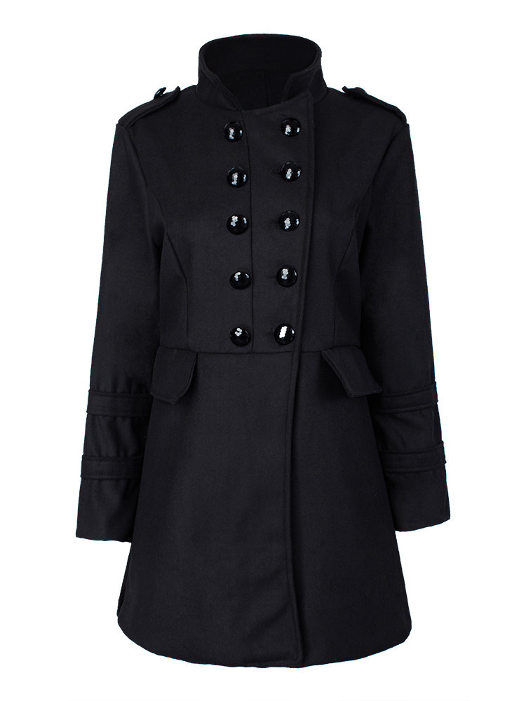 Elegant Slim Double Breasted Stand Collar Woolen Coat