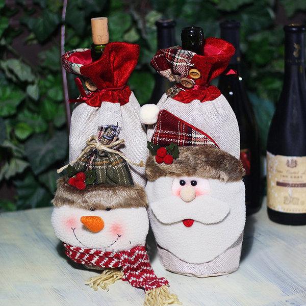 Рождественские украшения Санта-Клаус мешки красного вина мешок посуда декоративные элементы