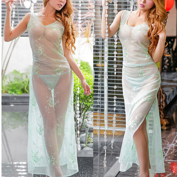 Women Sexy See Through Embroidered Babydoll Mesh Long Dress Temptation Nightdress
