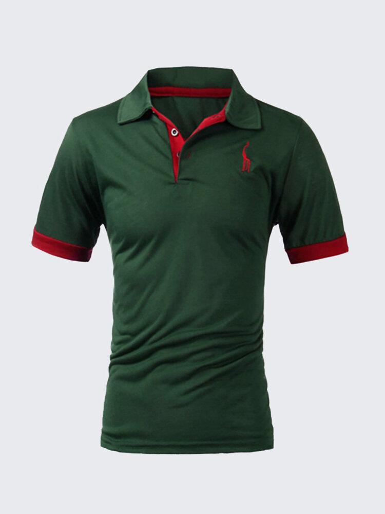 Men Summer Cotton Blend Giraffe Turn-down Collar Short Sleeve T-Shirt Polo Shirt