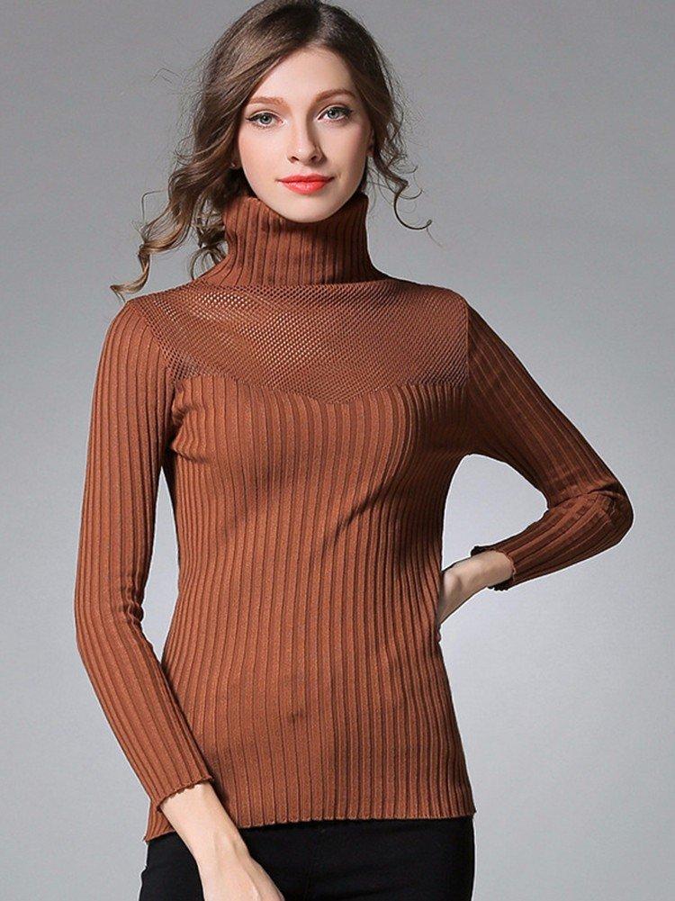 Элегантные женщины полые Водолазка с длинным рукавом Bodycon пуловер свитер