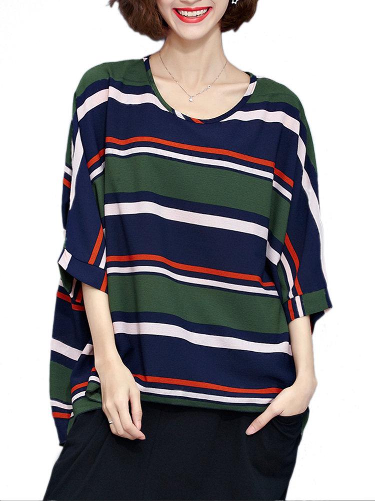 Женщины Сыпучие Полосатый Половина рукава вокруг шеи полиэстер Блуза