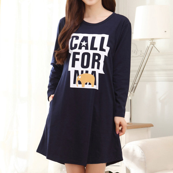 Cozy Cotton Long Sleeve Cartoon Nightgown Breathable Loose Nightdress For Women