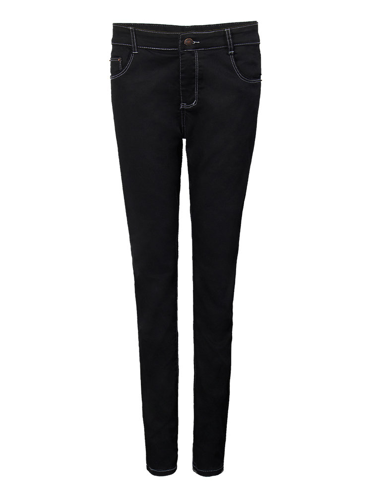 Casual Slim Pocket Black Elastic Mid Waist Skinny Women Denim Jeans