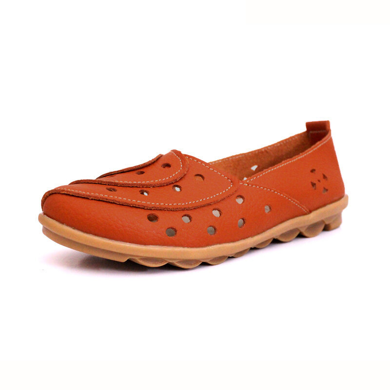 Leather Pure Color Hollow Out Breathable Soft Comfortable Flat Casual Shoes