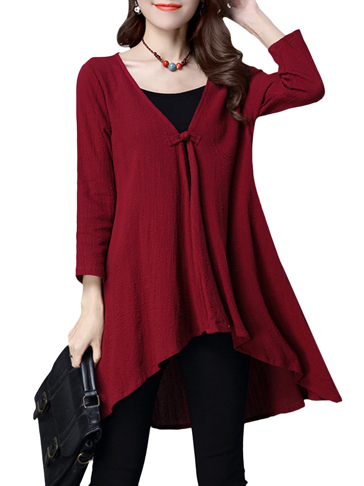 Vintage Loose Solid High Low Long Sleeve Women Cardigan
