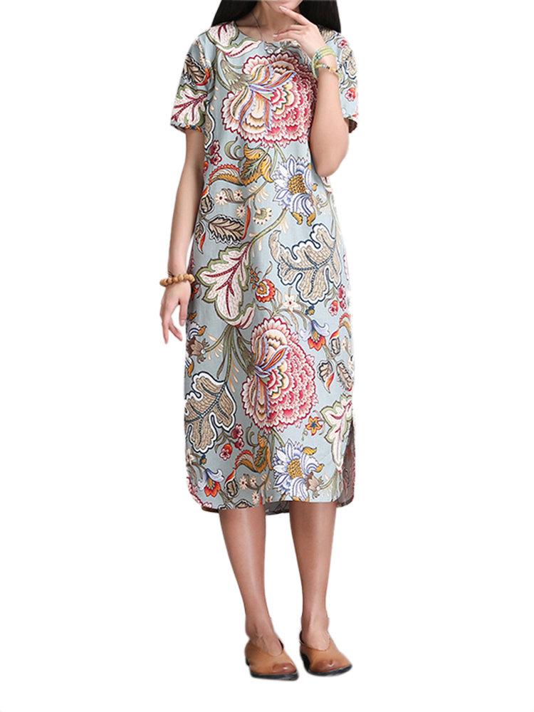 Урожай Женщины Цветочный печати Side Split Straight платье