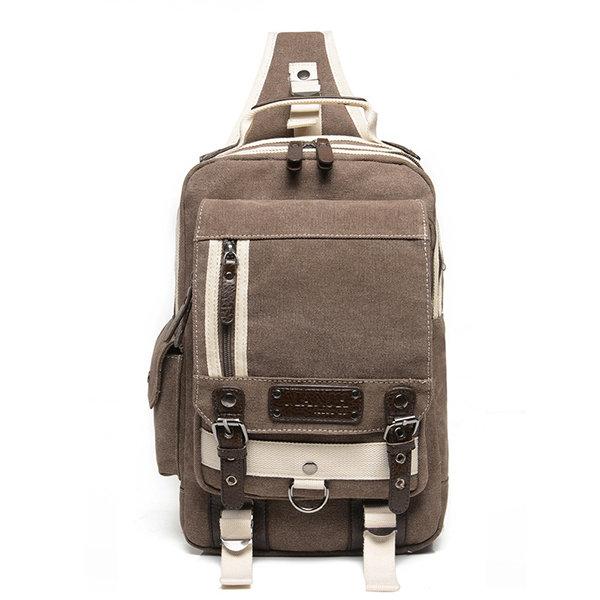 Men Canvas Multi-pocket Laptop Bag Casual Shoulder Bags Chest Bags