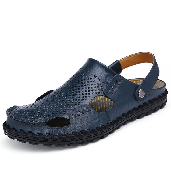 Men Beach Breathable Hollow Out Slip On Two Way Wearing Leather Sandals