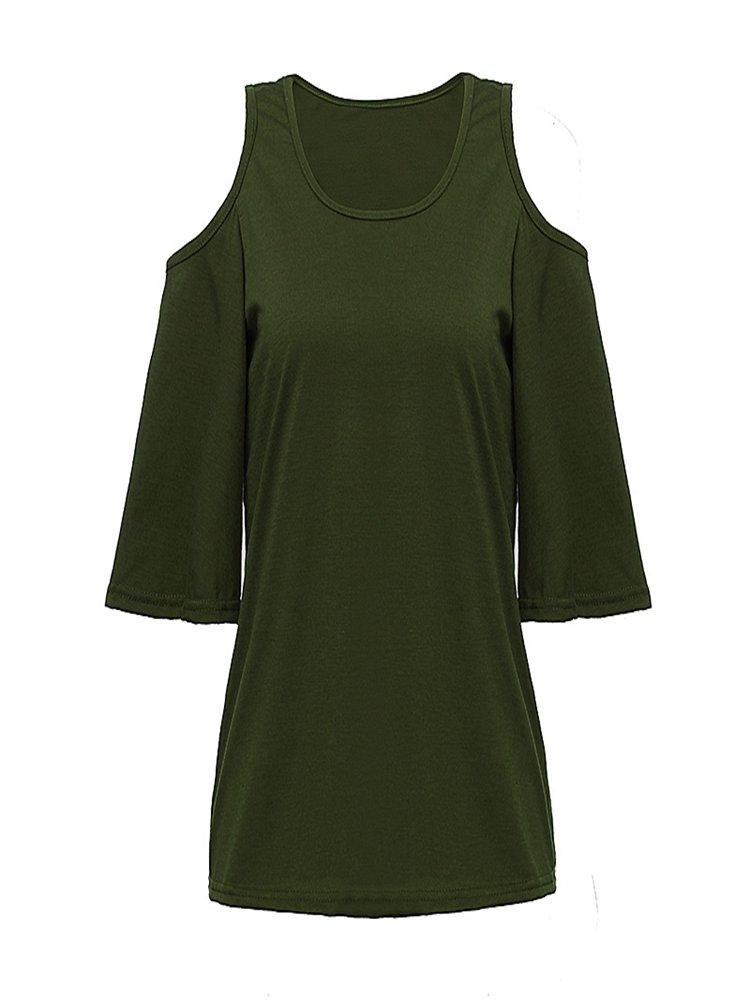 Shoulder Hole Off Shoulder Casual Women  Shirt