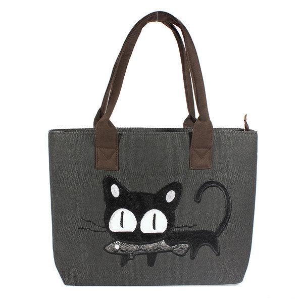 Casual Cute Cat Print Shopper Bag Women Handbag