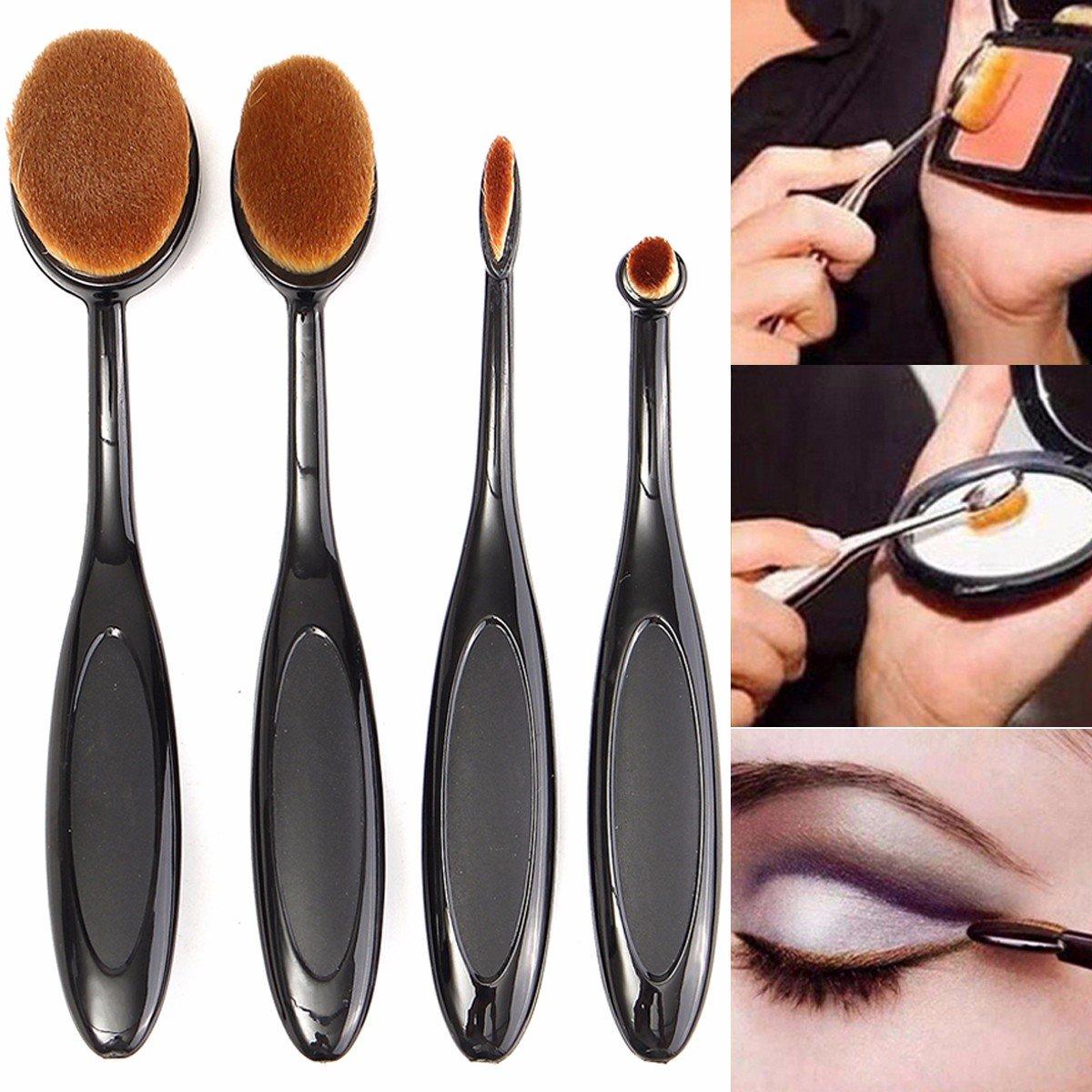 4шт Черная зубная щетка Кисти для макияжа Фонд бровей Овал пудра Крем-Brush Set
