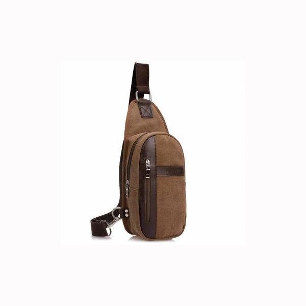 Men Casual Chest Bag Canvas Crossbody Bag Massager Bag