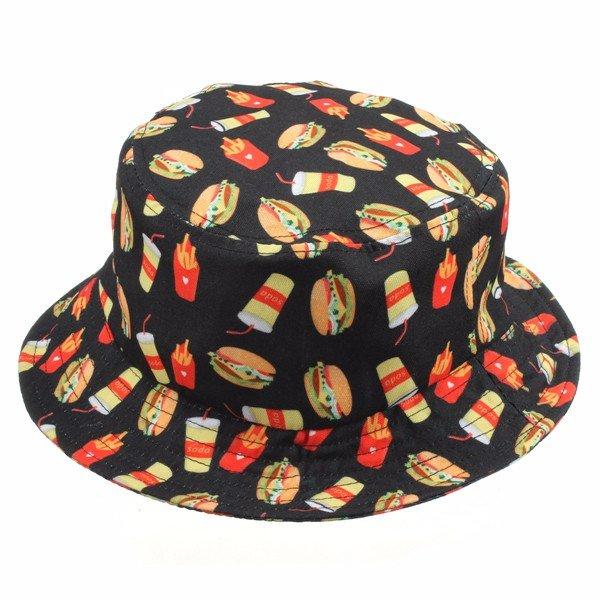 Мужчины Женщины Девушки Гамбург Fries Отпечатанные Ковш Cap Хлопок рыбалки Шляпы