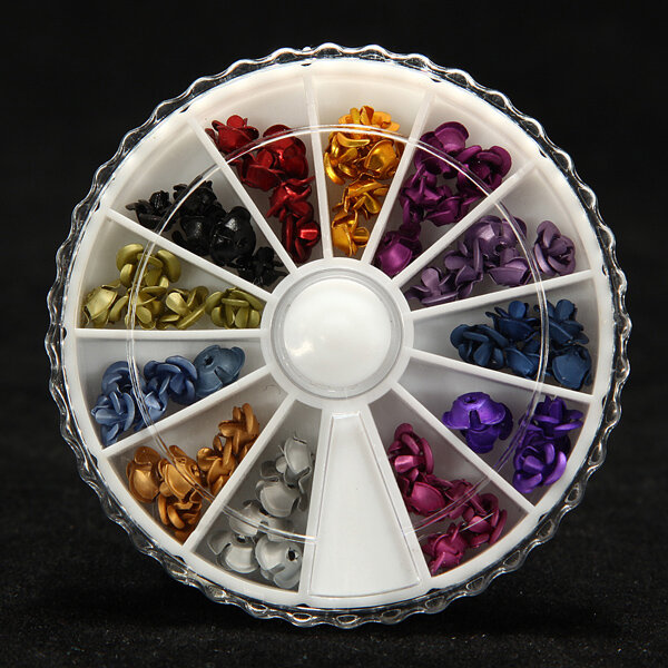 Rose Flower Metallic Nail Art Design DIY Decoration Wheel
