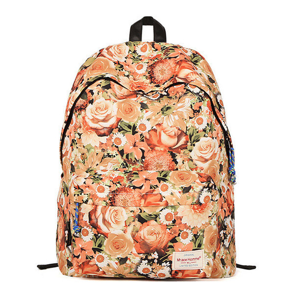 Women Rose Canvas Backpack