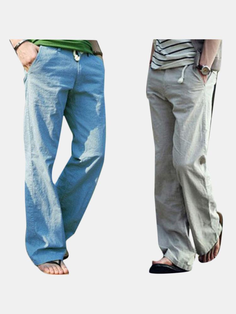 Mens Cotton Linen Drawstring Pants Solid Color Comfortable Loose Leisure Pants