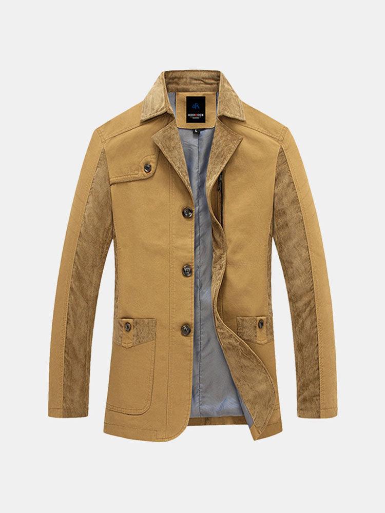 Свободный Открытый Хлопок Тонкий куртка Slim Fit с отложным воротником пальто для мужчин