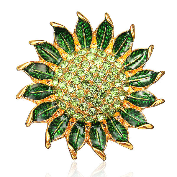 Rhinestone Green Enamel Sunflower Shaped Brooch