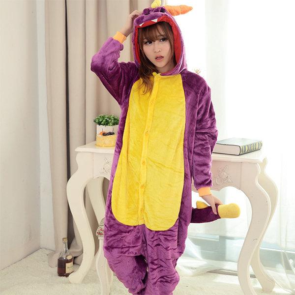 Lovely Dragon Animal Flannel Jumpsuit Sleepwear Thicken Long Sleeve Nightwear
