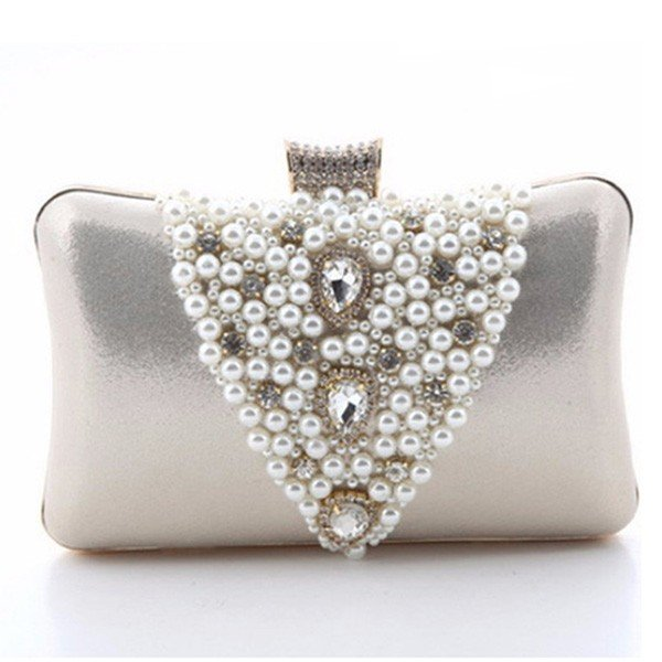 Women Evening Pearl Crystal Satin Cluth Bag