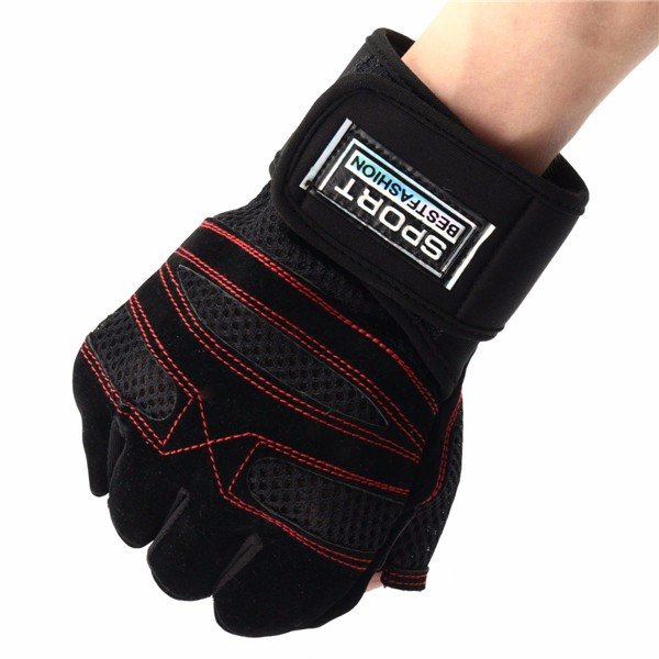 Men Long Wrist Fitness Gloves Half Fingers Exercise Bicycle Breathable Gloves