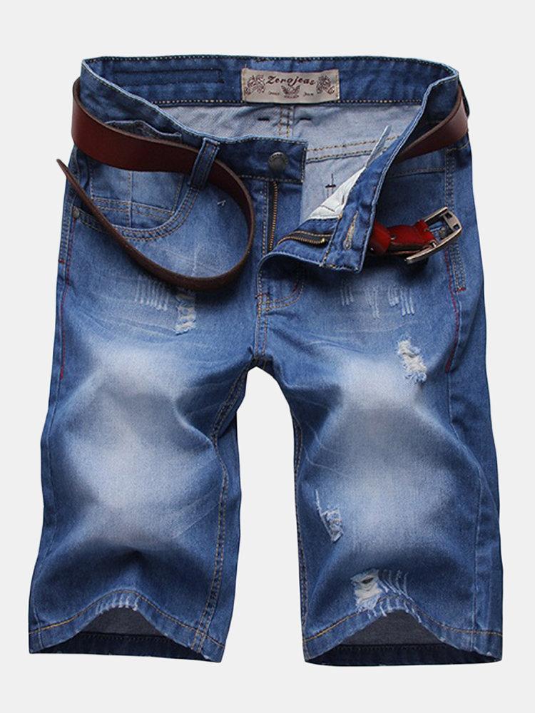 Изношенные Джинсовые шорты Straight худощавое Mens хлопка шорты до колен джинсы Bermudas