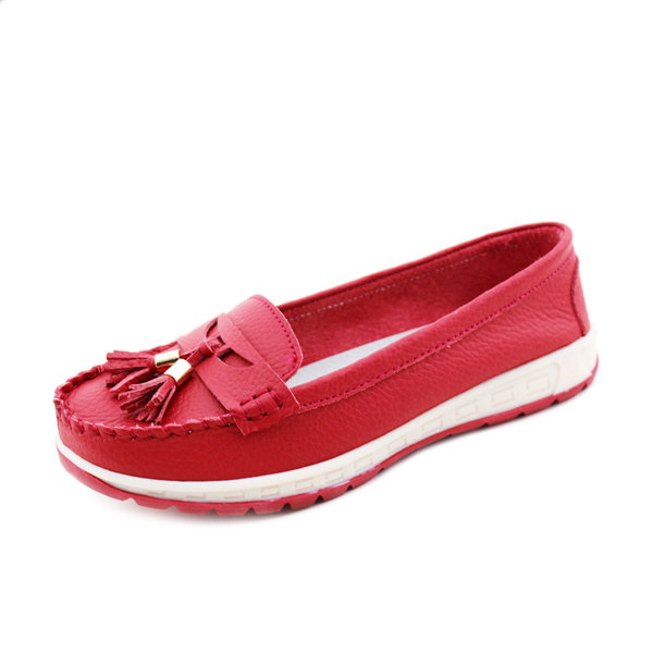 Double Tassel Leather Metal Slip On Flat Casual Soft Lazy Shoes