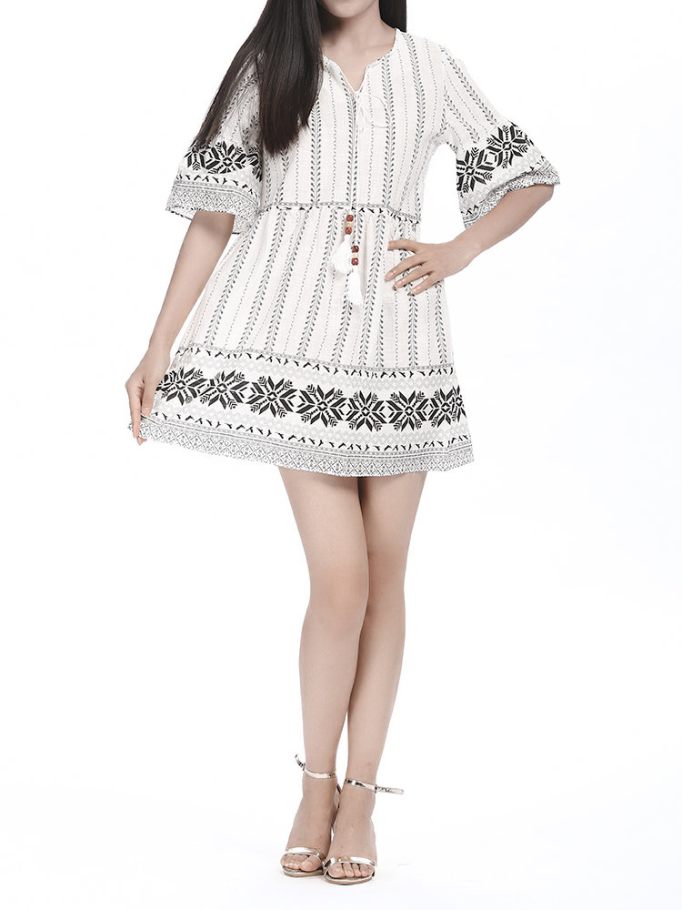 V Neck Trumpet Sleeves Printed Loose Women Casual Mini Dress