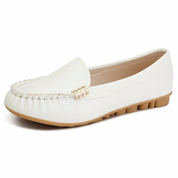 Leather Pure Color Metal Soft Round Toe Slip On Flat Loafers
