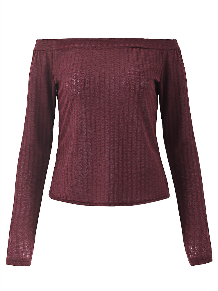 Women Sexy Off-shoulder Knitted Long Sleeve Tops