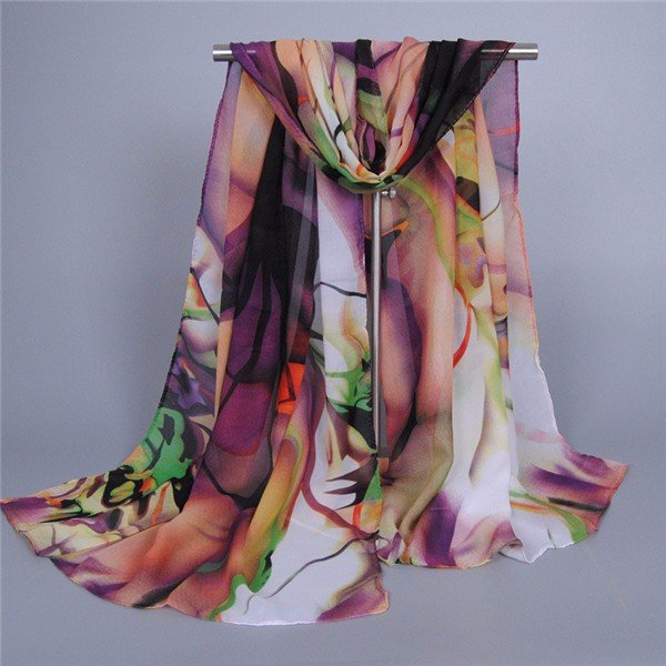 Women Long Soft Silk Chiffon Scarf Wrap Shawl Beach Scarves