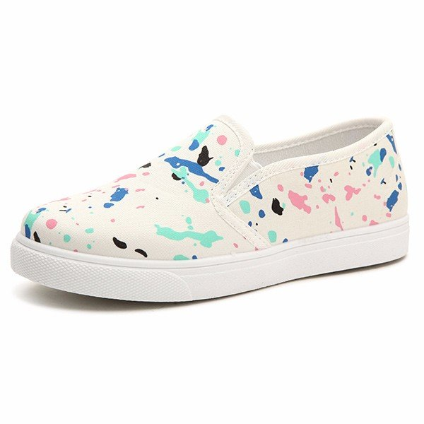 Canvas Graffiti Prined Colorful Multicolor Round Toe Slip On Flat Loafers