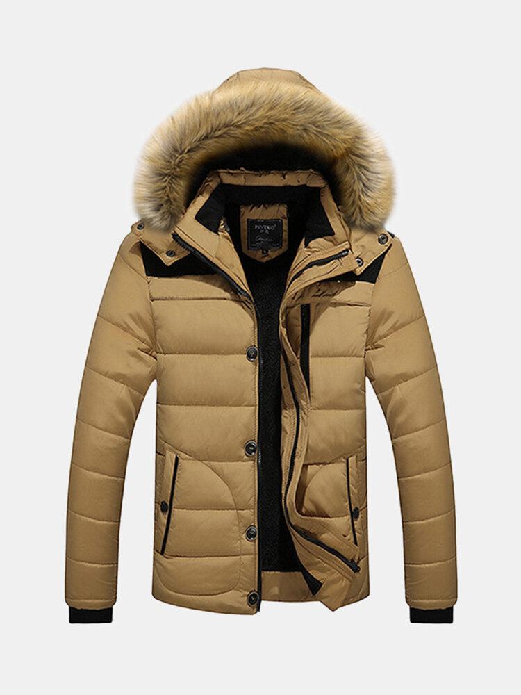 Зима Свободный Открытый сгущает Теплый плюс размер Furry с капюшоном пальто куртки для мужчин