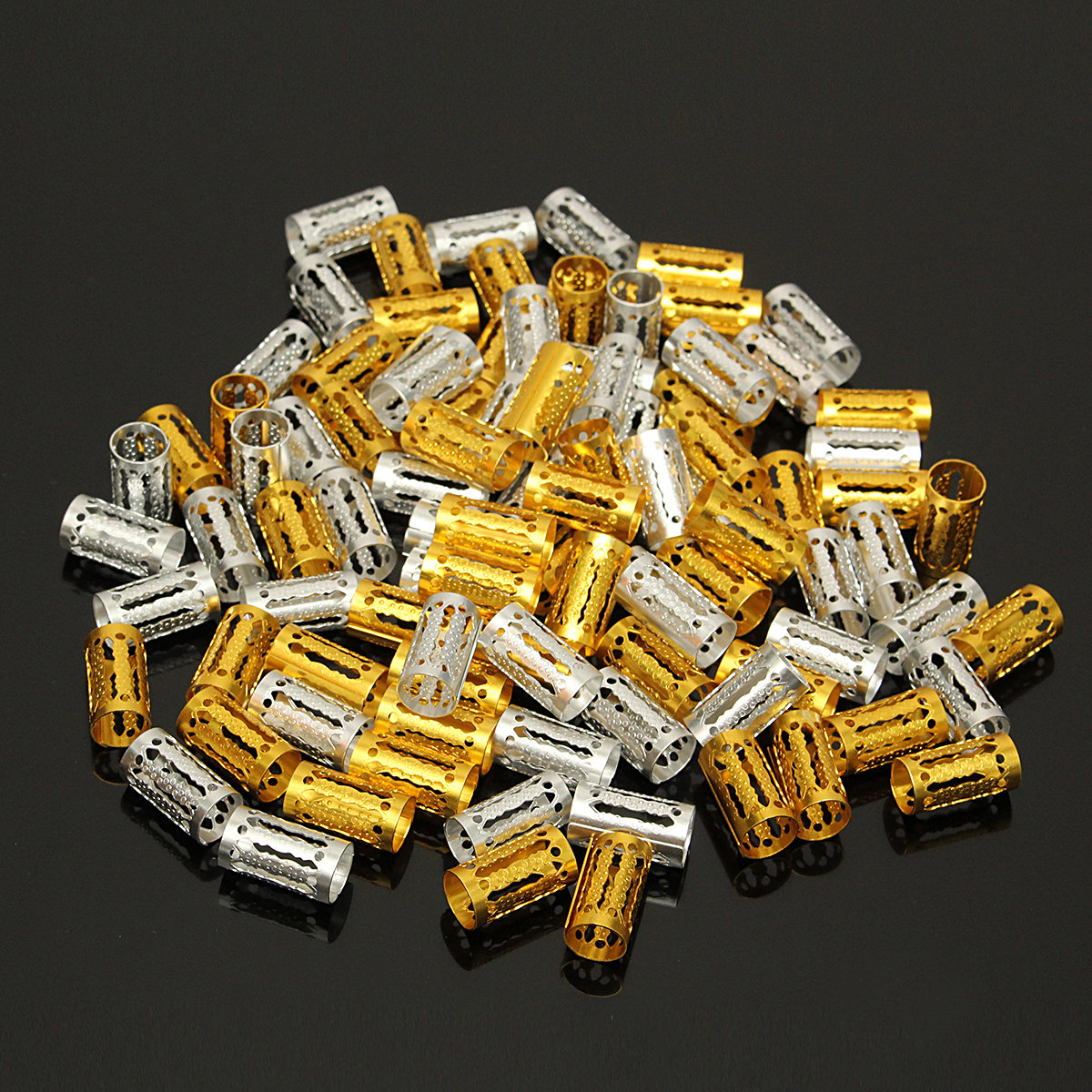 100Pcs Long Hair Beads For Braids Aluminum Metal Base Dreadlocks Extensions Silver Gold
