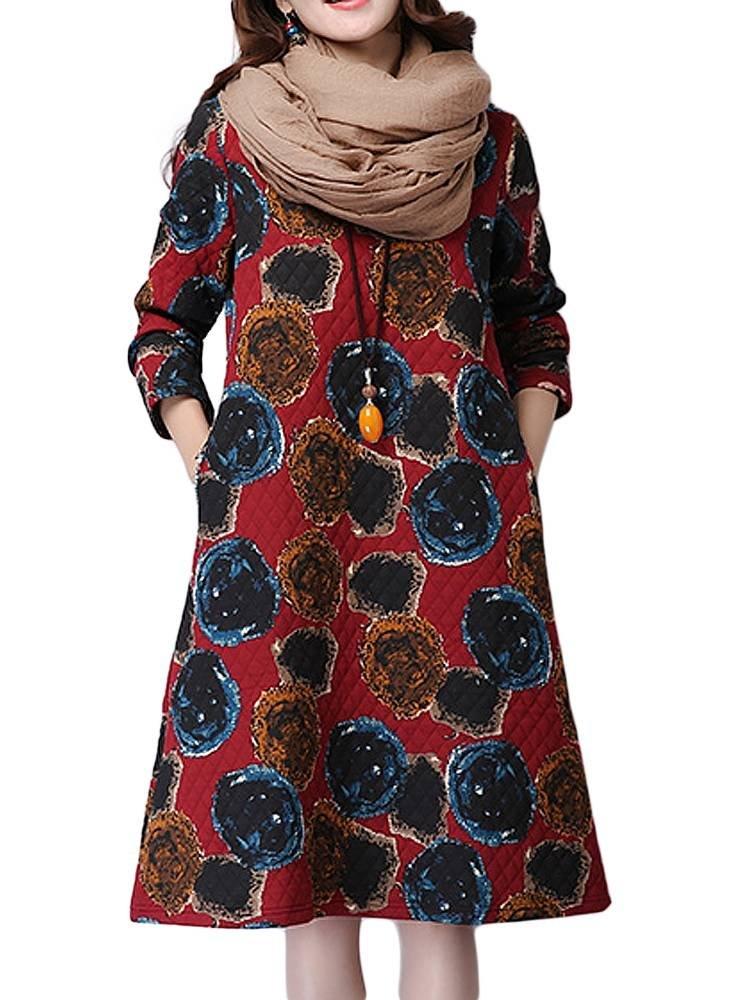 Women Vintage Linen Printed Long Sleeve O-Neck Midi Dress