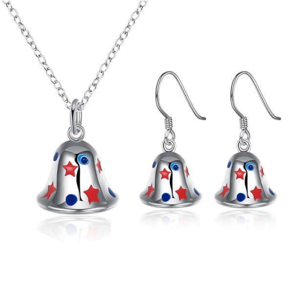 Christmas Jewelry Set Silver Plated Bell Oil Drip Star Earrings Necklace Kit