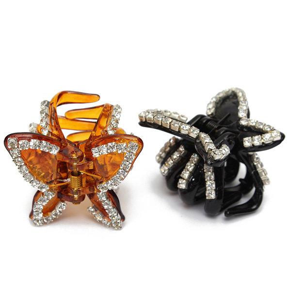 Women Crystal Hair Clip Butterfly Hairpin Rhinestone Plastic Headwear Claw Clamp