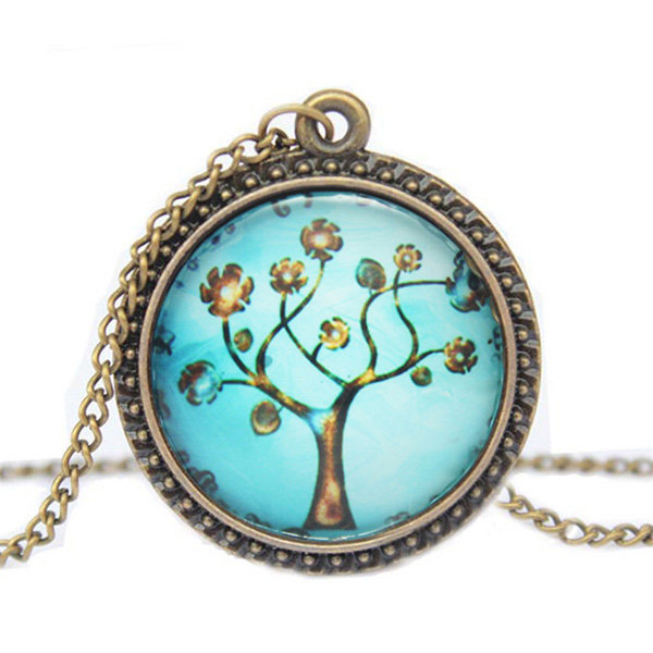 Tree of Life Cabochon Carved Bronze Necklace