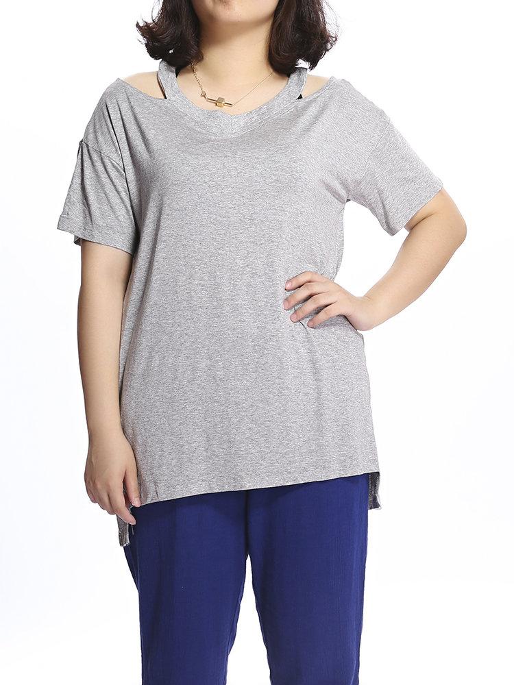 Loose Women Solid V-образным вырезом выдалбливают футболка