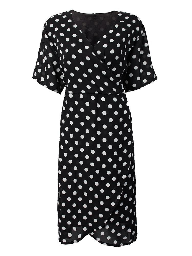 Plus Size Sexy Polka Dot V Neck High Waist Chiffon Dress