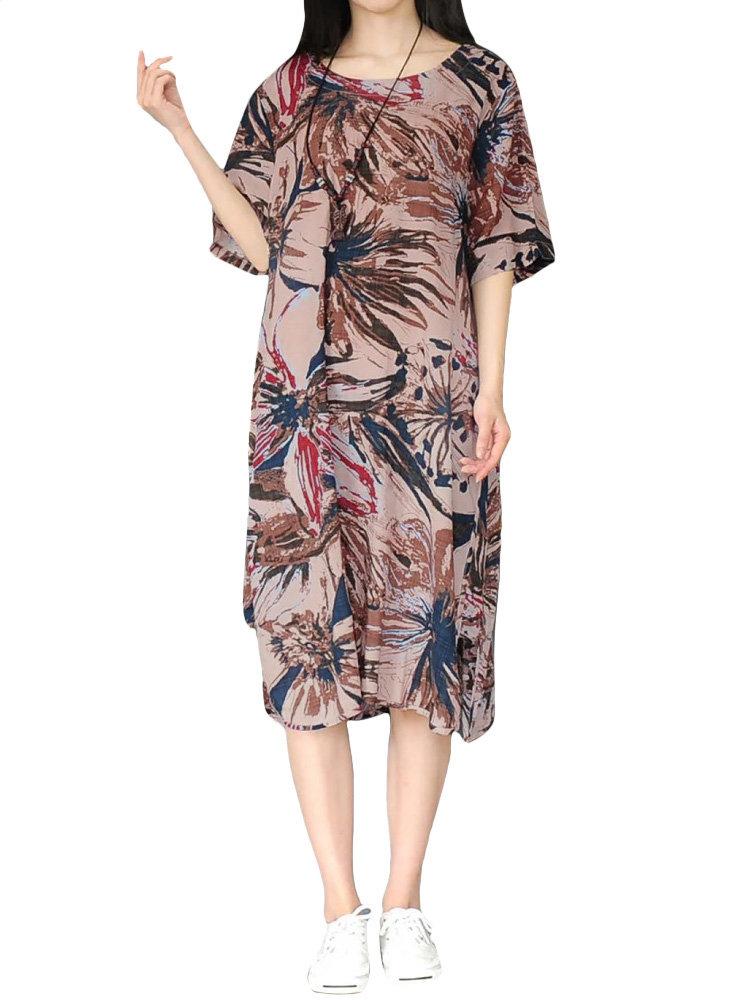 Урожай Печатный O-образным вырезом с коротким рукавом длиной до колен платье для женщин