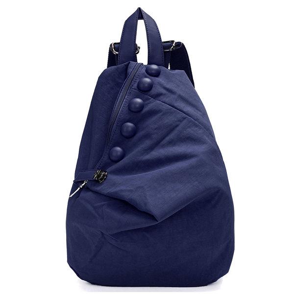 Women Leisure Fastener Nylon Backpack Pure Color Student Bag
